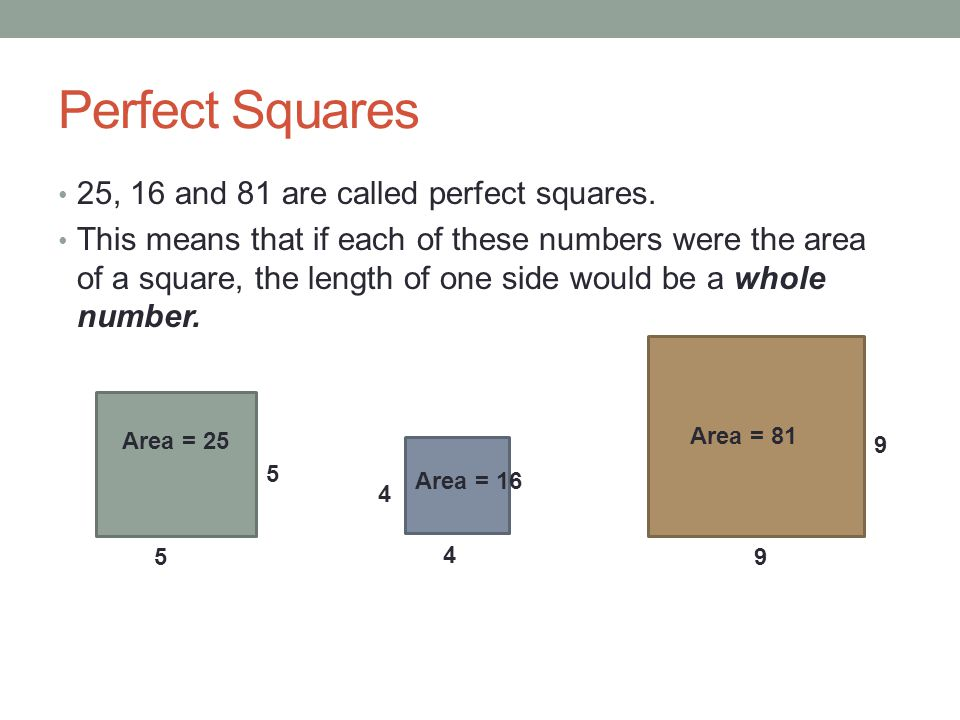 Perfect Squares 25, 16 and 81 are called perfect squares.