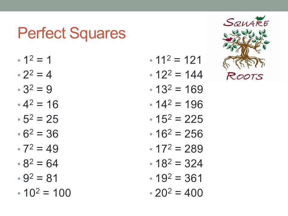 Perfect Squares 12 = 1 22 = 4 32 = 9 42 = 16 52 = 25 62 = 36 72 = 49