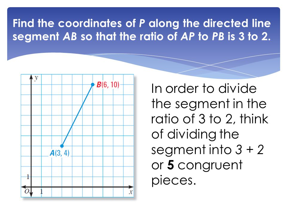 Find the coordinates of P along the directed line segment AB so that the ratio of AP to PB is 3 to 2.