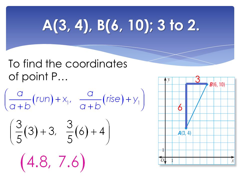 A(3, 4), B(6, 10); 3 to 2. To find the coordinates of point P… 6 3