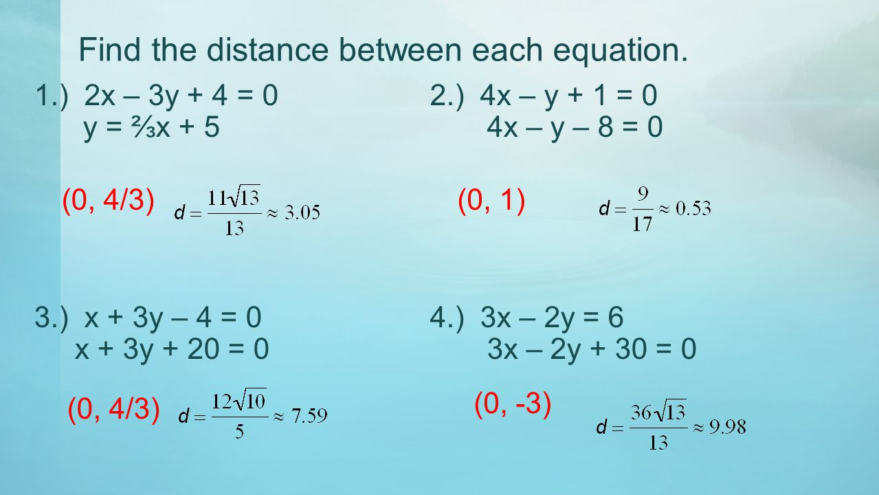 Find the distance between each equation.