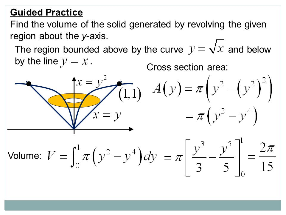 Guided Practice Find the volume of the solid generated by revolving the given. region about the y-axis.