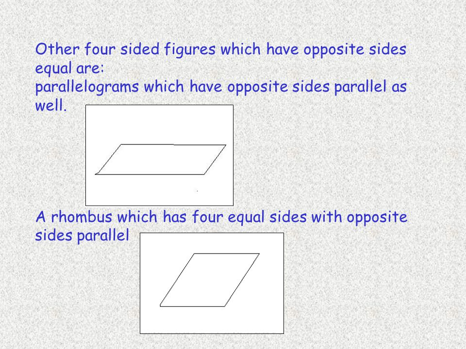 Other four sided figures which have opposite sides equal are: