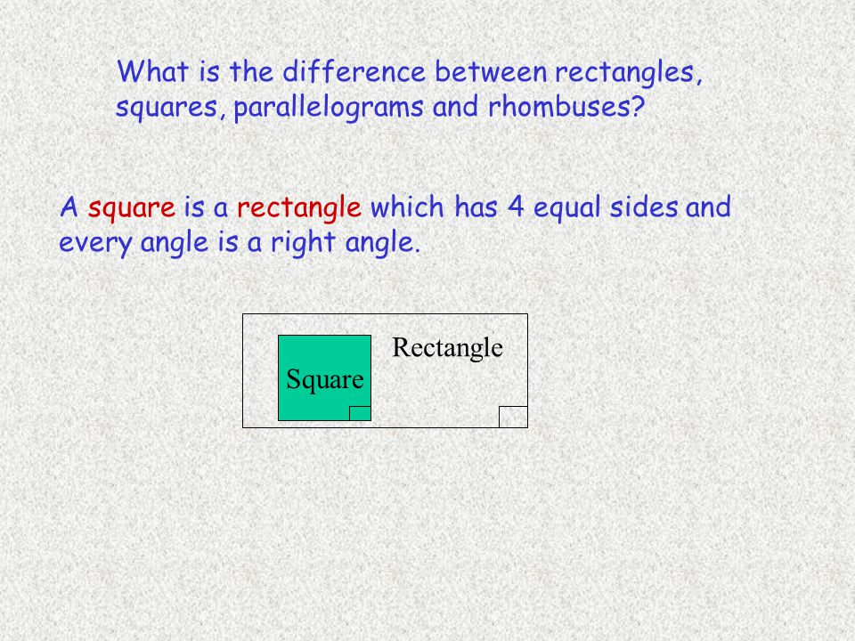 What is the difference between rectangles, squares, parallelograms and rhombuses