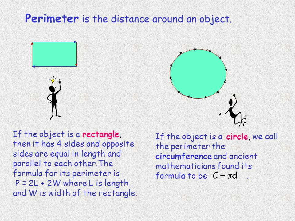 Perimeter is the distance around an object.