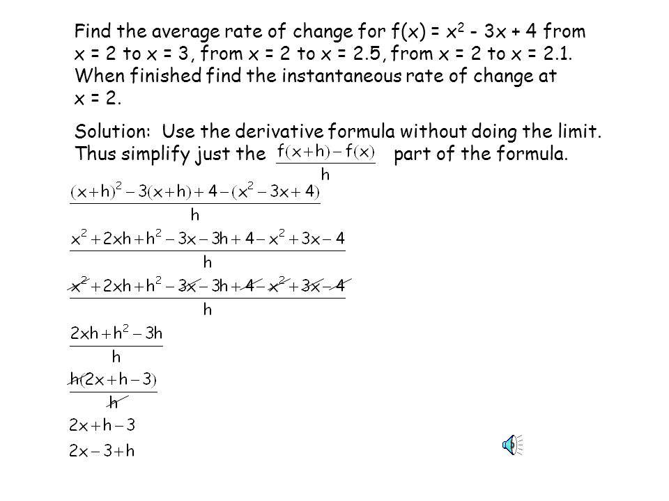 Find the average rate of change for f(x) = x2 - 3x + 4 from