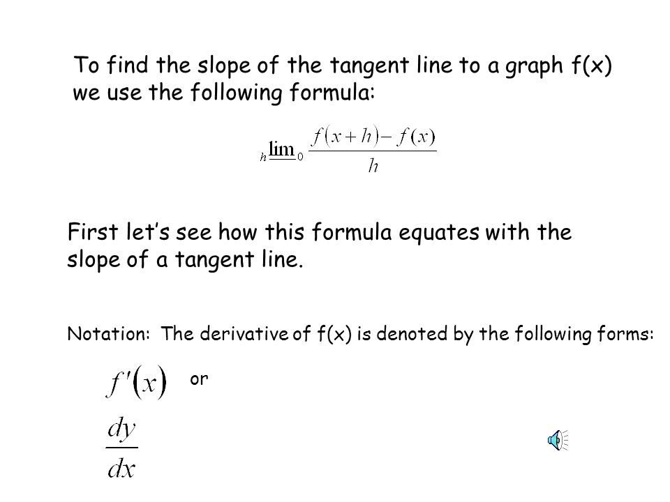 To find the slope of the tangent line to a graph f(x) we use the following formula: