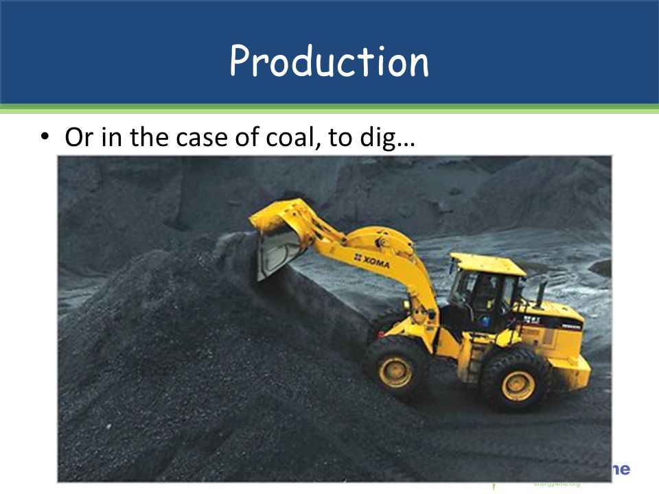 Production Or in the case of coal, to dig…