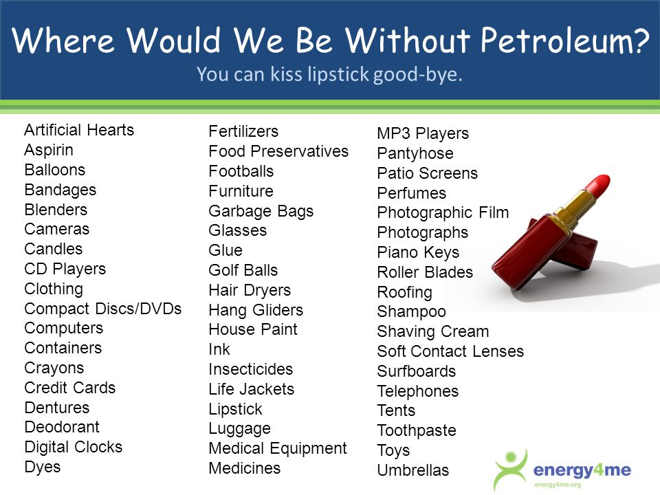 Where Would We Be Without Petroleum You can kiss lipstick good-bye.