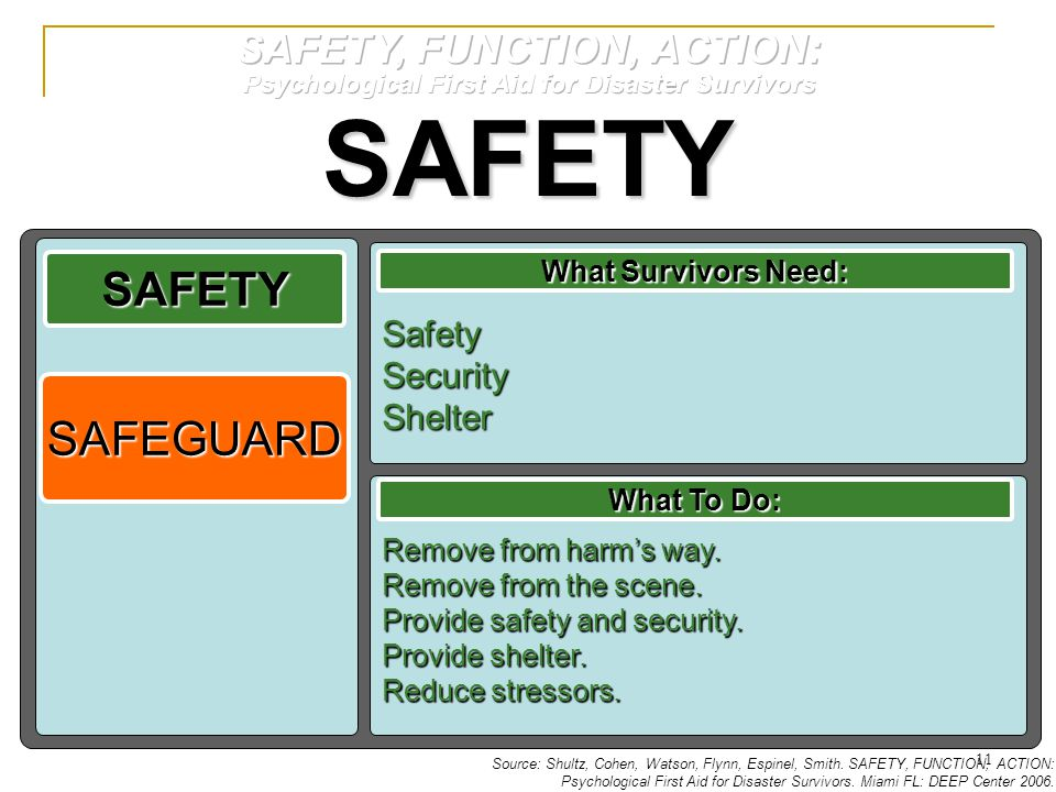 SAFETY SAFETY SAFEGUARD SAFETY, FUNCTION, ACTION: Safety Security