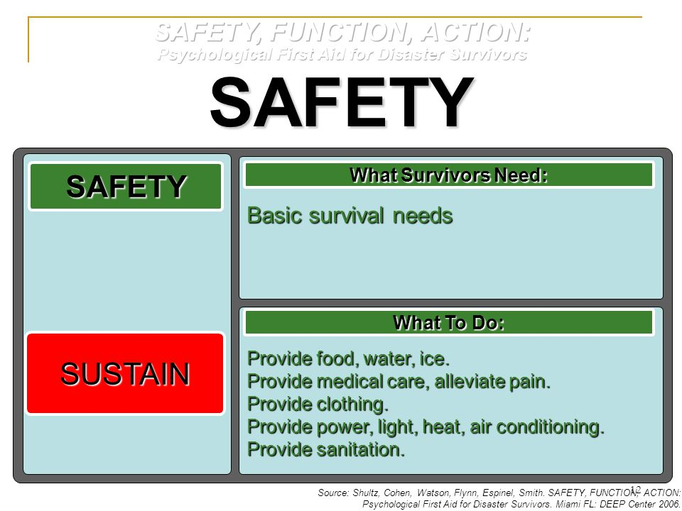 SAFETY SAFETY SUSTAIN SAFETY, FUNCTION, ACTION: Basic survival needs