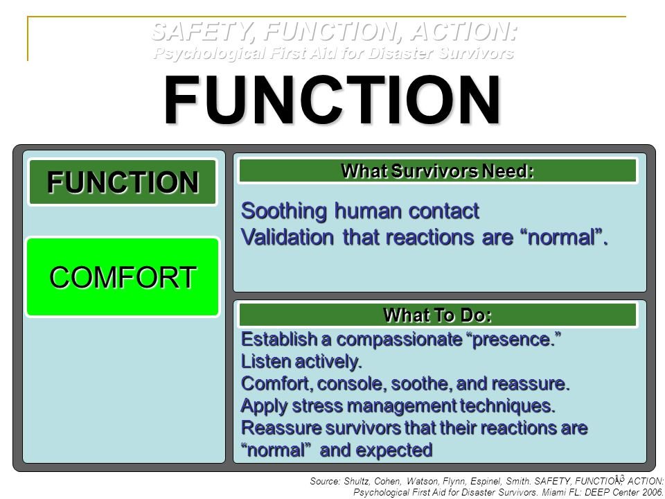 FUNCTION FUNCTION COMFORT SAFETY, FUNCTION, ACTION: