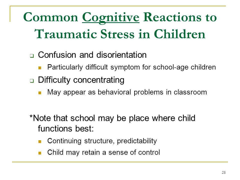 Common Cognitive Reactions to Traumatic Stress in Children
