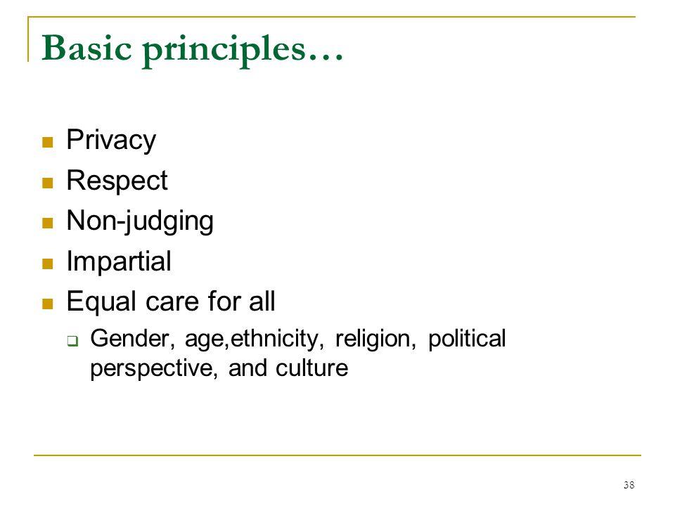 Basic principles… Privacy Respect Non-judging Impartial