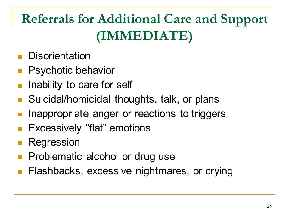 Referrals for Additional Care and Support (IMMEDIATE)