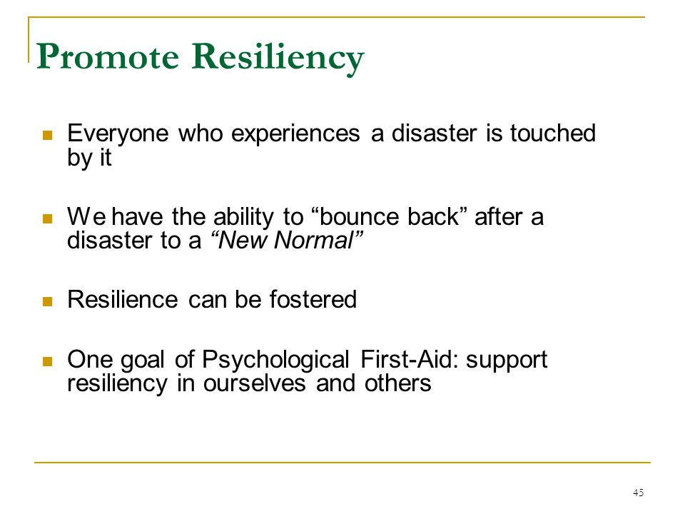 Promote Resiliency Everyone who experiences a disaster is touched by it. We have the ability to bounce back after a disaster to a New Normal