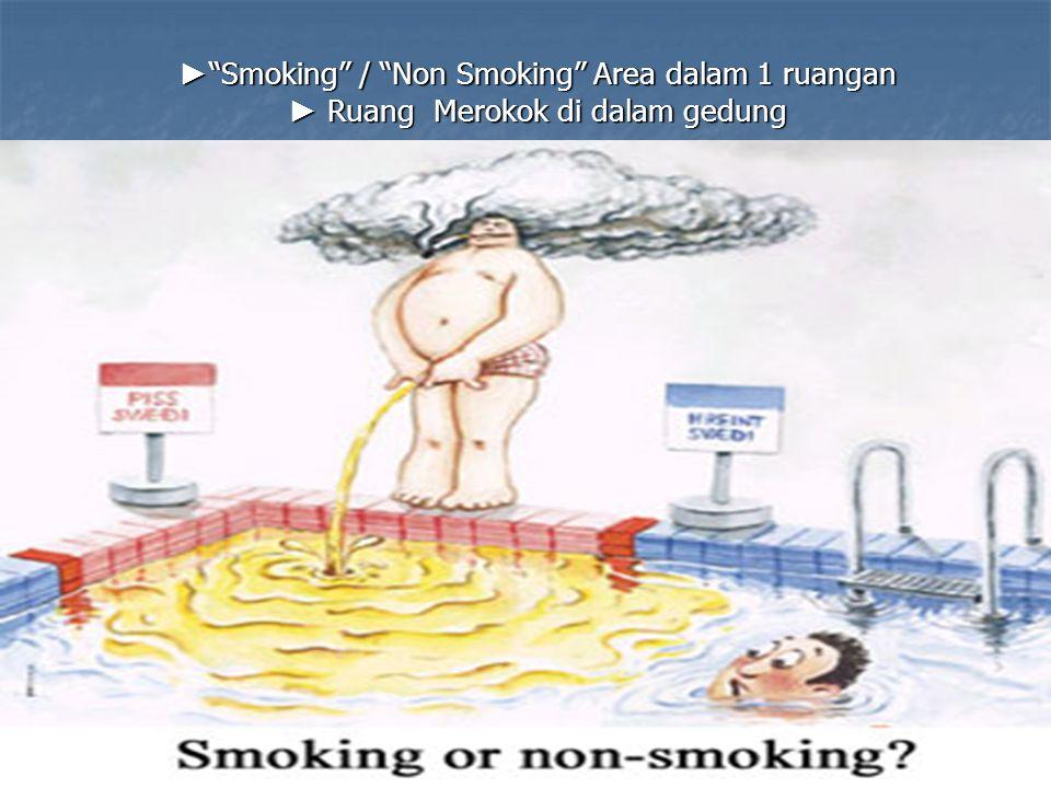 ► Smoking / Non Smoking Area dalam 1 ruangan ► Ruang Merokok di dalam gedung