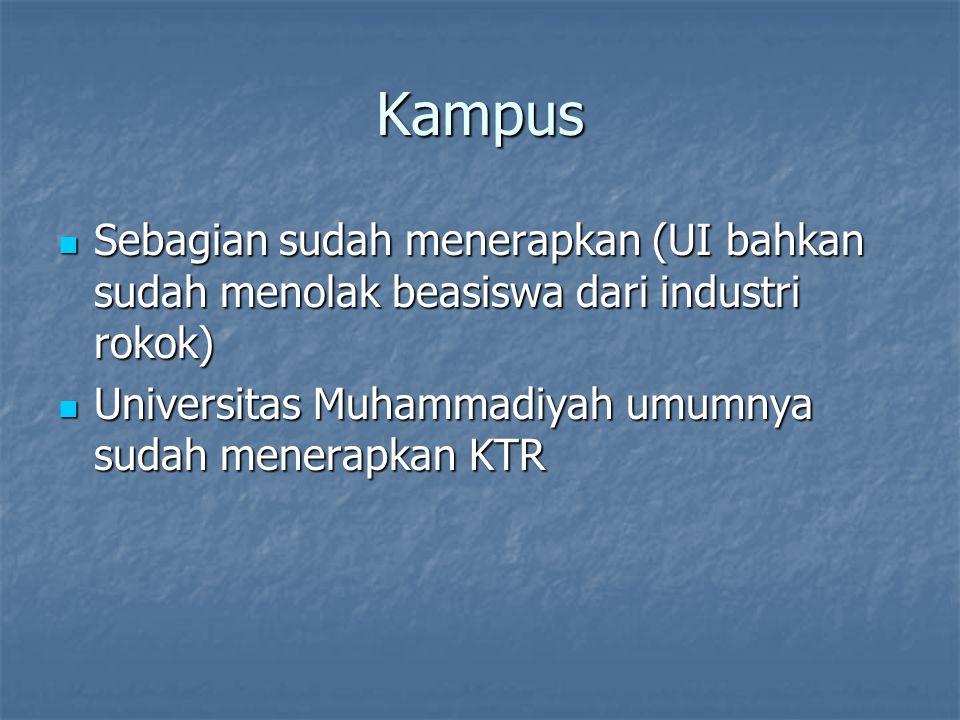 Kampus Sebagian sudah menerapkan (UI bahkan sudah menolak beasiswa dari industri rokok) Universitas Muhammadiyah umumnya sudah menerapkan KTR.