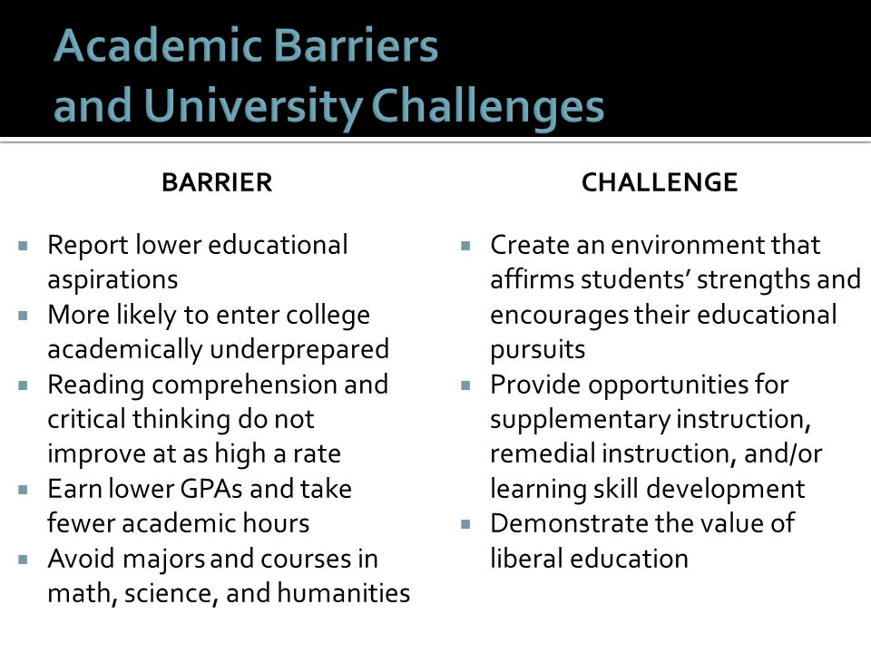 Academic Barriers and University Challenges