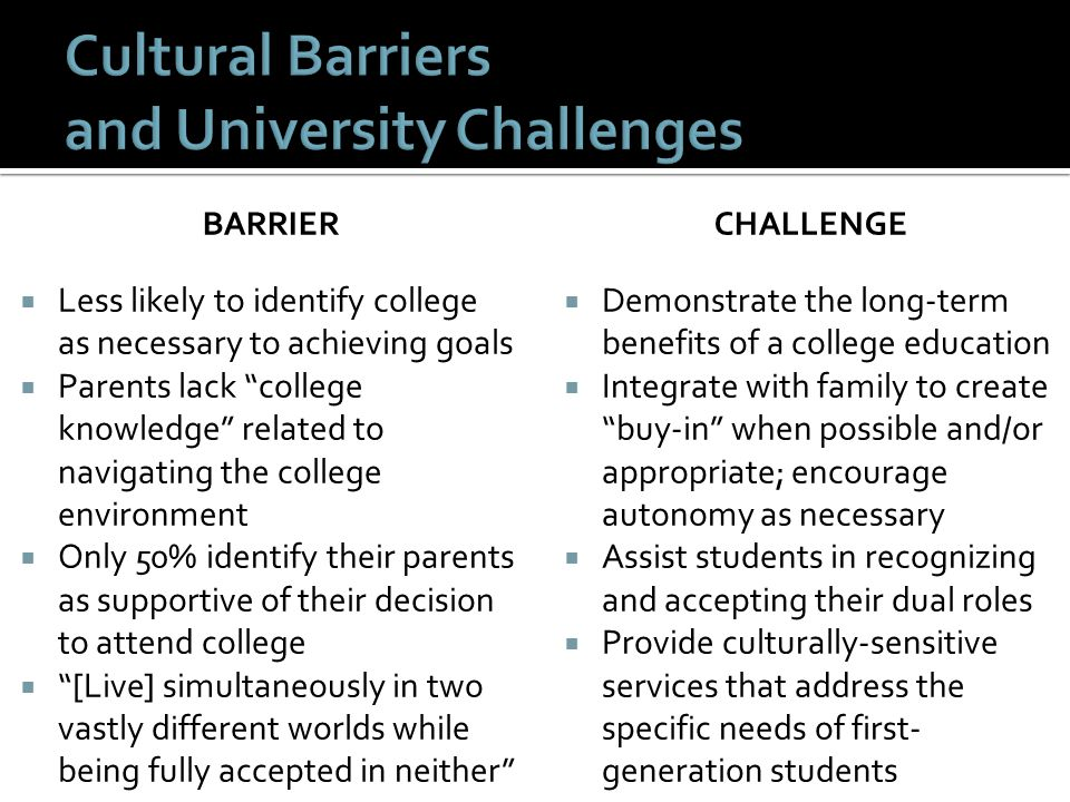Cultural Barriers and University Challenges