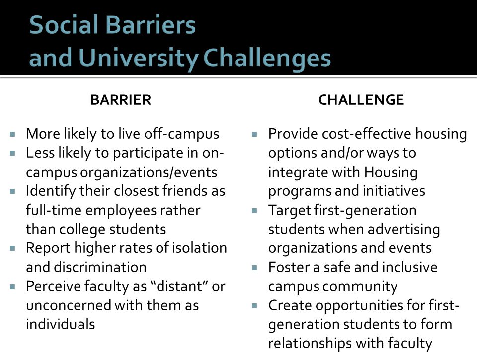 Social Barriers and University Challenges
