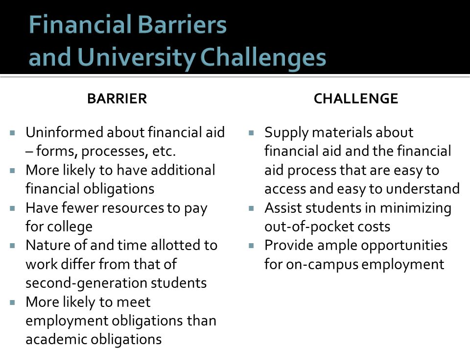 Financial Barriers and University Challenges