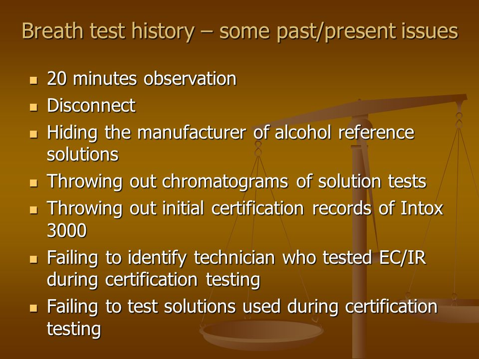 Breath test history – some past/present issues