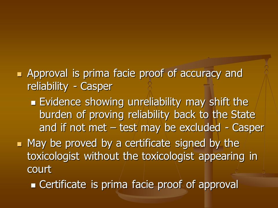 Equipment approved by the toxicologist – Courts & Judicial Proceedings Article § 10-304(b)