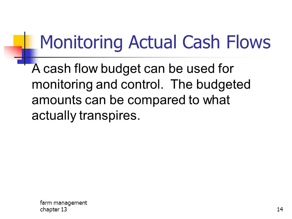 Monitoring Actual Cash Flows