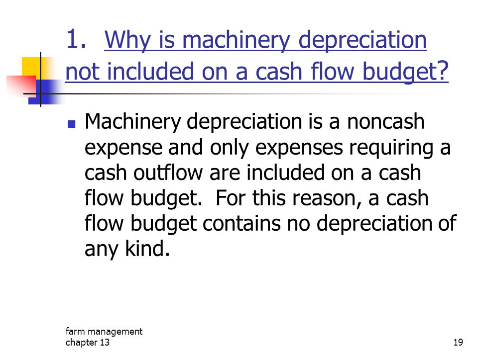 1. Why is machinery depreciation not included on a cash flow budget
