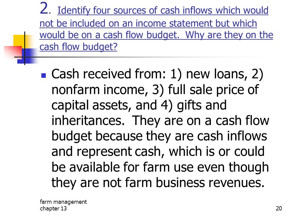 2. Identify four sources of cash inflows which would not be included on an income statement but which would be on a cash flow budget. Why are they on the cash flow budget