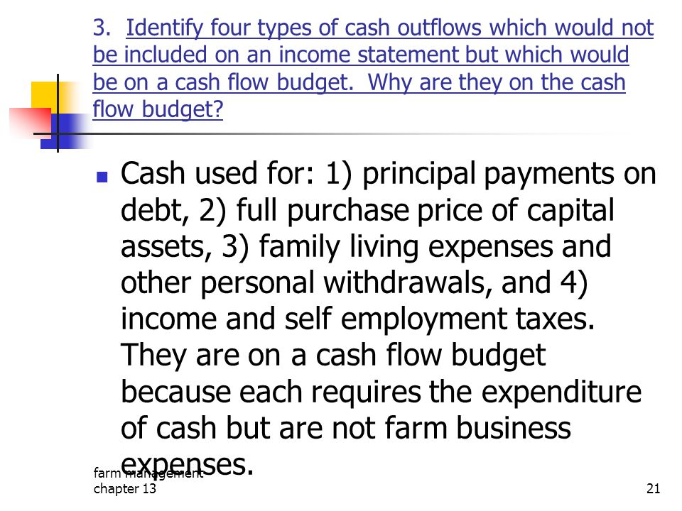 3. Identify four types of cash outflows which would not be included on an income statement but which would be on a cash flow budget. Why are they on the cash flow budget