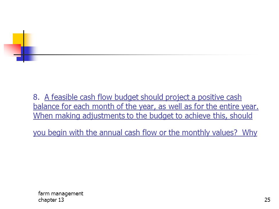 8. A feasible cash flow budget should project a positive cash balance for each month of the year, as well as for the entire year. When making adjustments to the budget to achieve this, should you begin with the annual cash flow or the monthly values Why