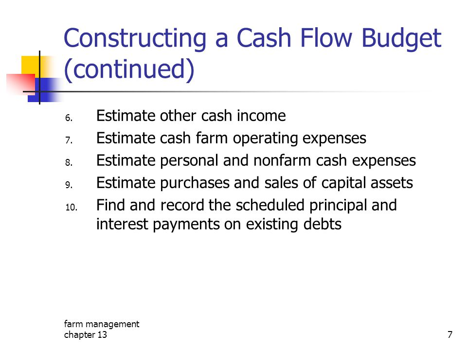 Constructing a Cash Flow Budget (continued)