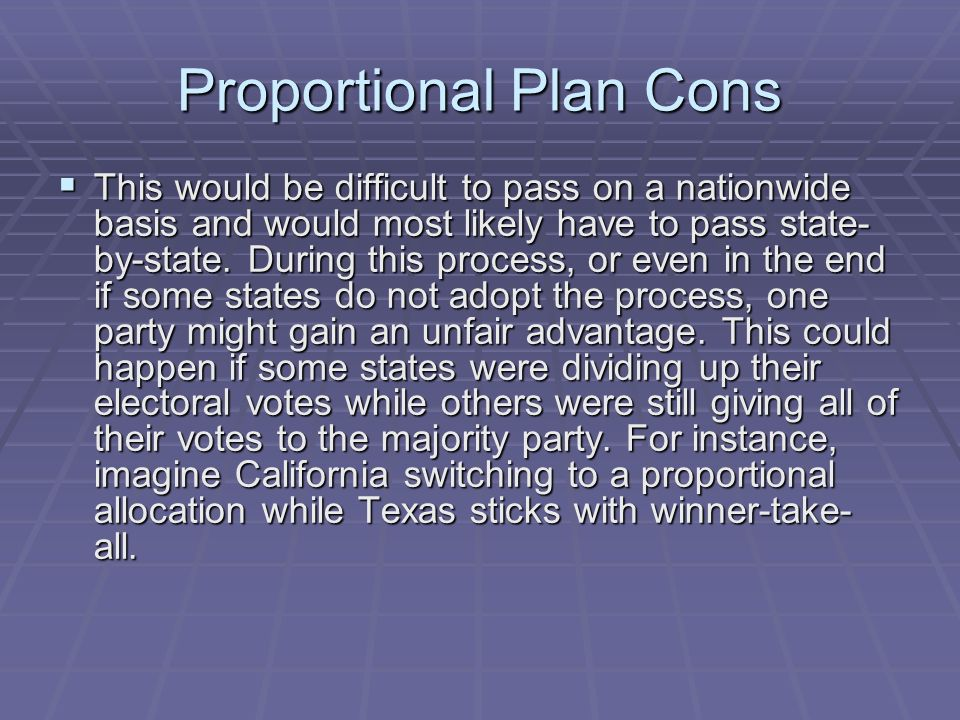 Proportional Plan Cons