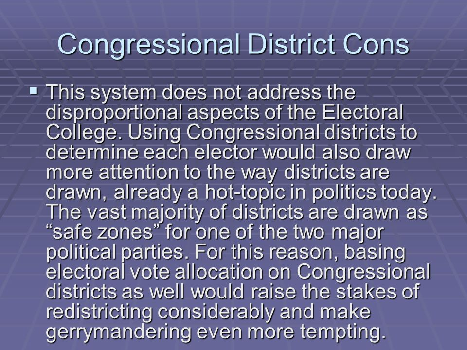 Congressional District Cons