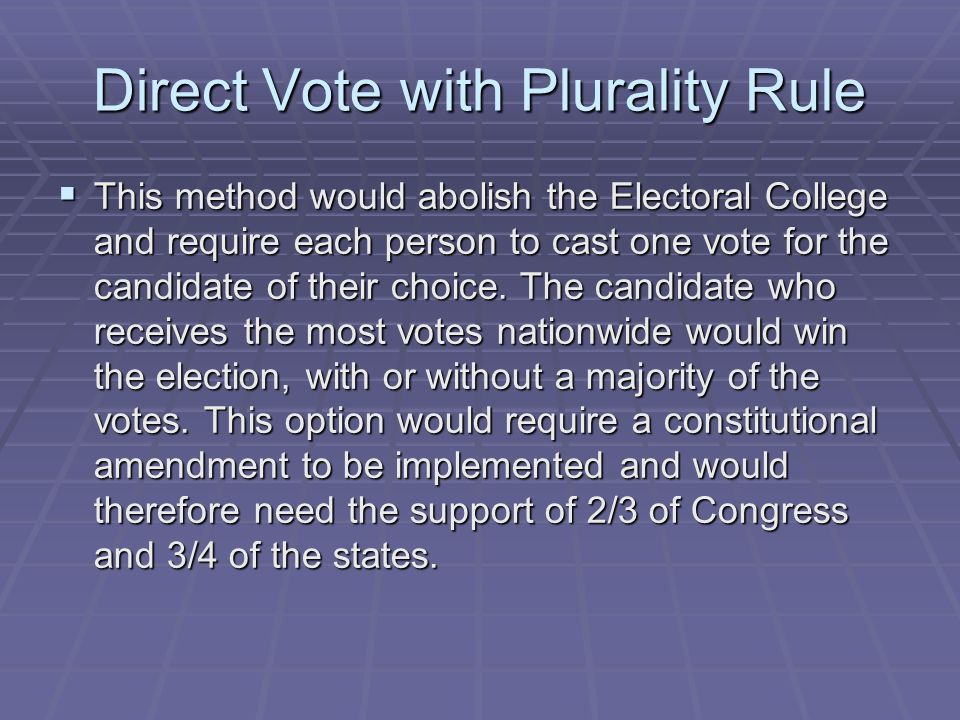 Direct Vote with Plurality Rule