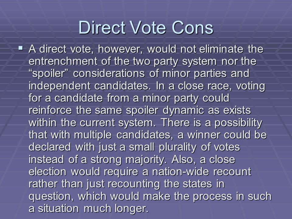 Direct Vote Cons