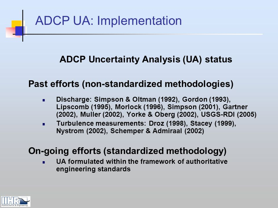 ADCP Uncertainty Analysis (UA) status