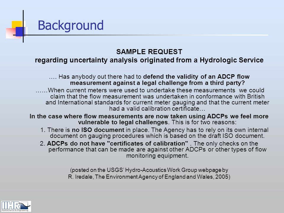 regarding uncertainty analysis originated from a Hydrologic Service