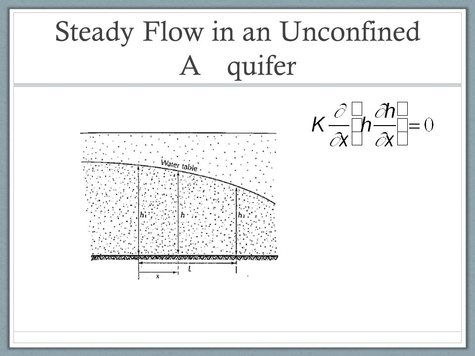 Steady Flow in an Unconfined A quifer