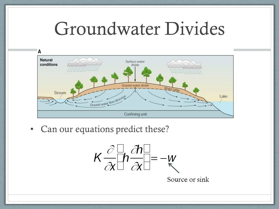Groundwater Divides Can our equations predict these Source or sink