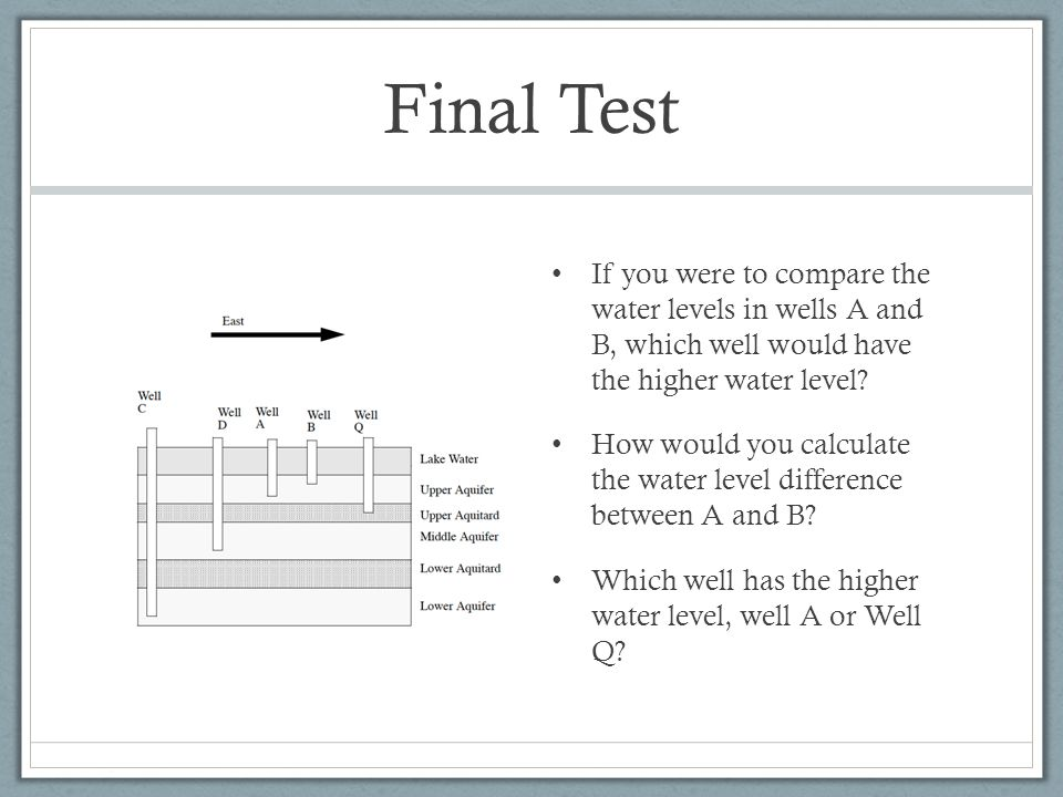Final Test If you were to compare the water levels in wells A and B, which well would have the higher water level
