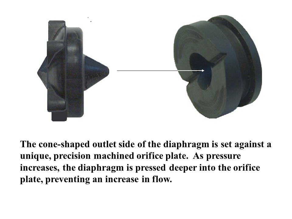The cone-shaped outlet side of the diaphragm is set against a unique, precision machined orifice plate.