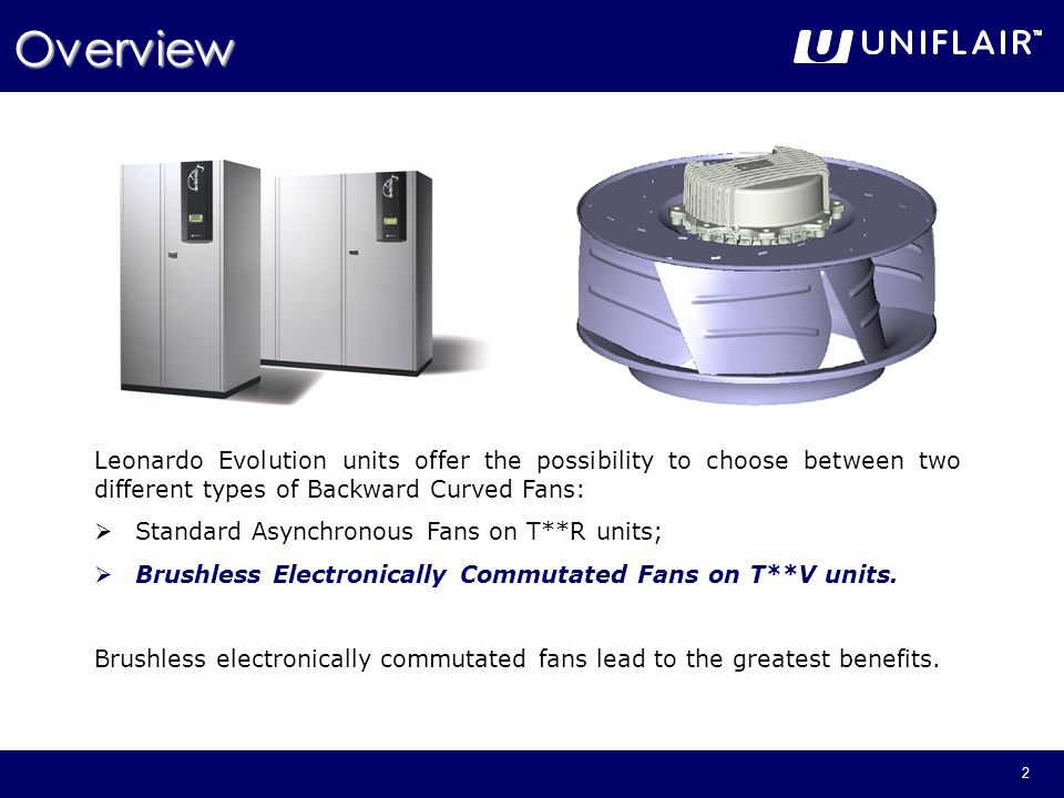 Overview Leonardo Evolution units offer the possibility to choose between two different types of Backward Curved Fans:
