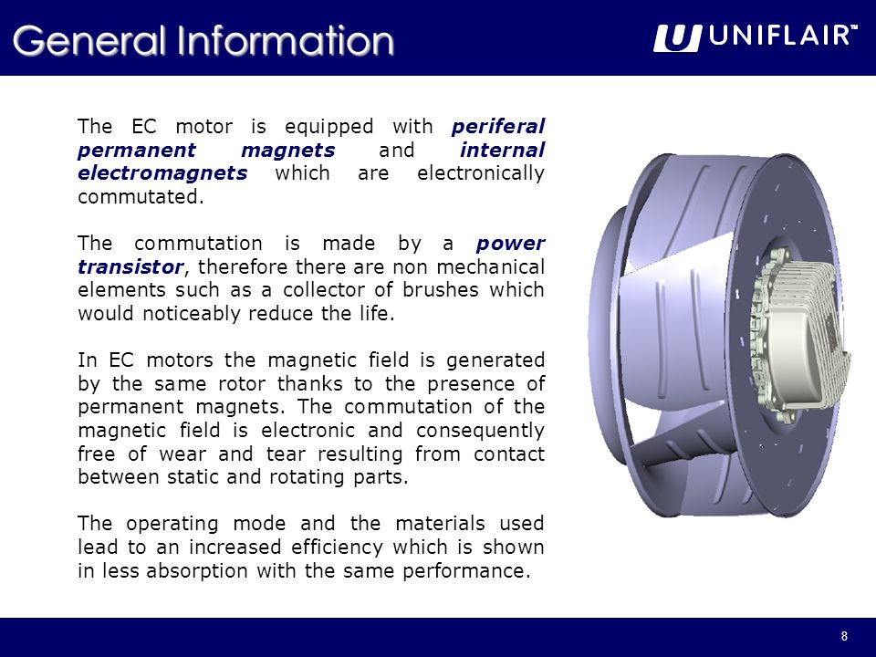 General Information The EC motor is equipped with periferal permanent magnets and internal electromagnets which are electronically commutated.