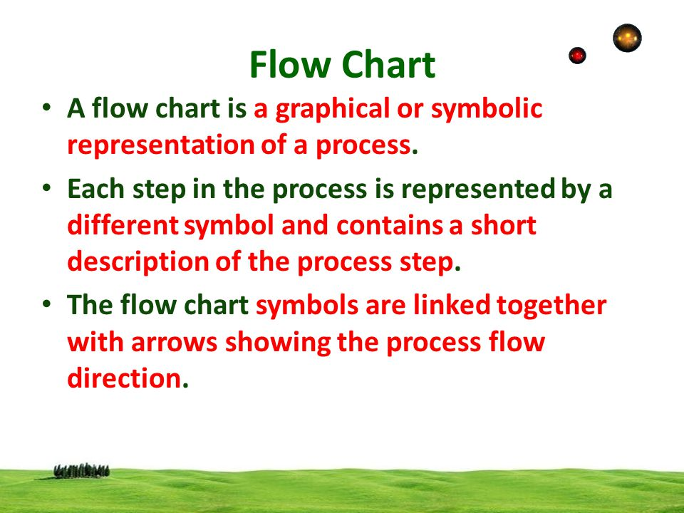 Flow Chart A flow chart is a graphical or symbolic representation of a process.