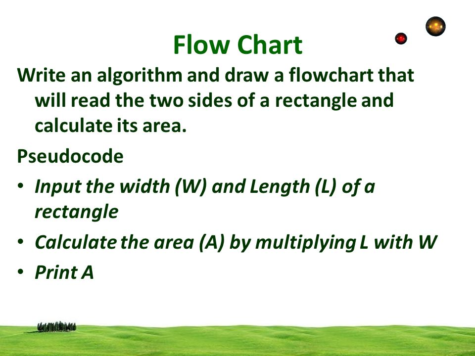 Flow Chart Write an algorithm and draw a flowchart that will read the two sides of a rectangle and calculate its area.