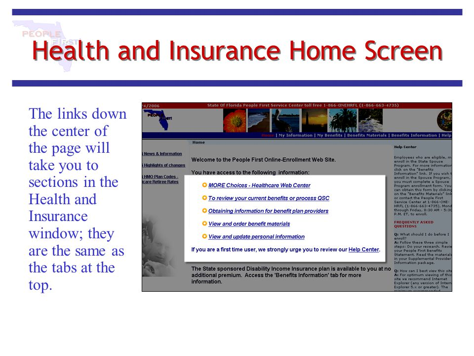 Health and Insurance Home Screen
