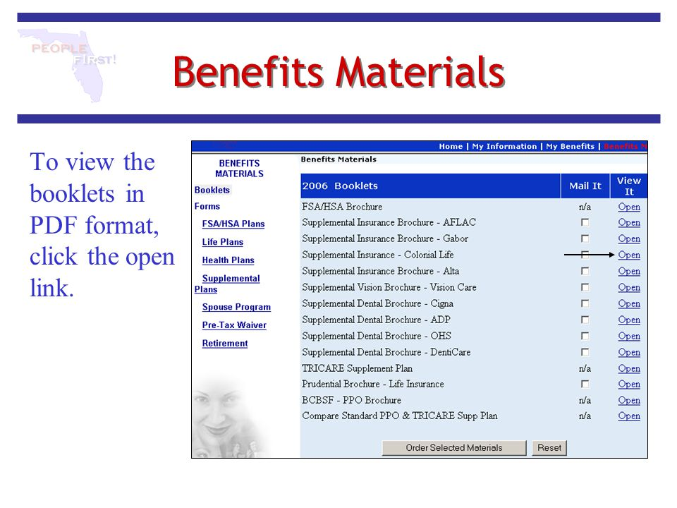 Benefits Materials To view the booklets in PDF format, click the open link.